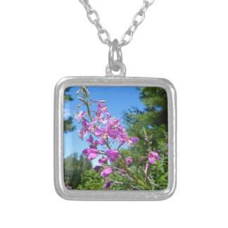 purple flower silver plated necklace