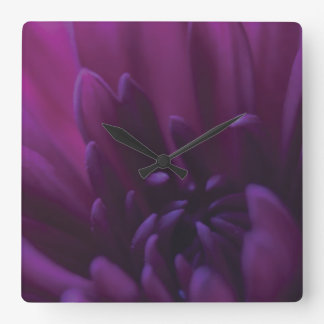 Purple Flower Square Wall Clock