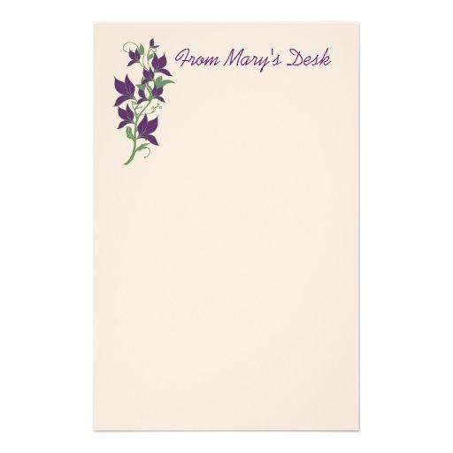 Purple Flower Stationary Stationery Design