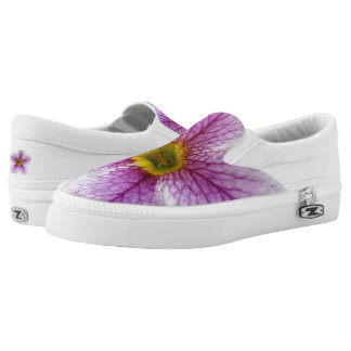 Purple Flower Toes Slip On Shoes