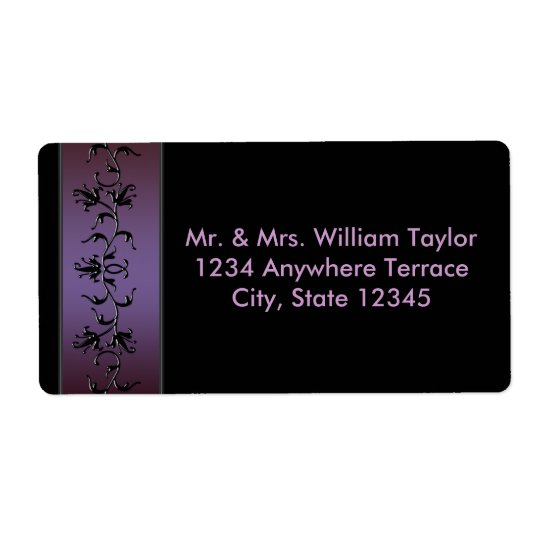 Purple Flower Vine Black Address Labels