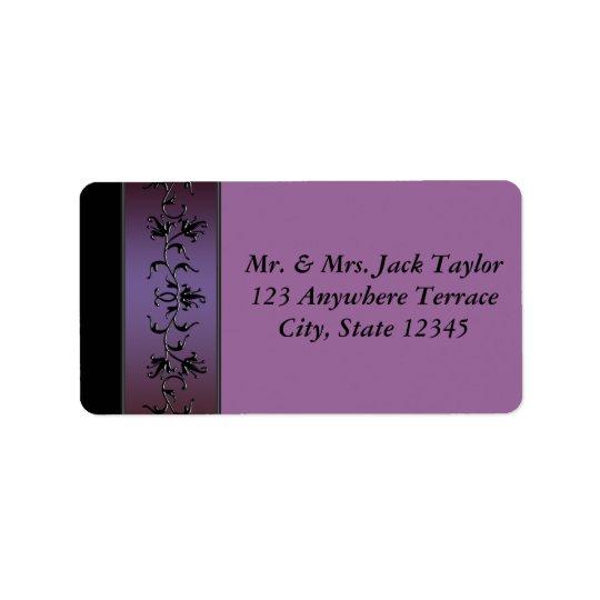 Purple Flower Vine Purple Address Label