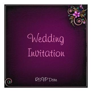 Purple Flower Wedding Invitation