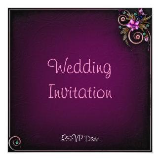 "Purple Flower Wedding Invitation 5.25"" Square Invitation Card"