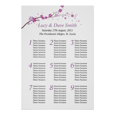 Purple Flower Wedding Table Seating Plan Posters by honey moon