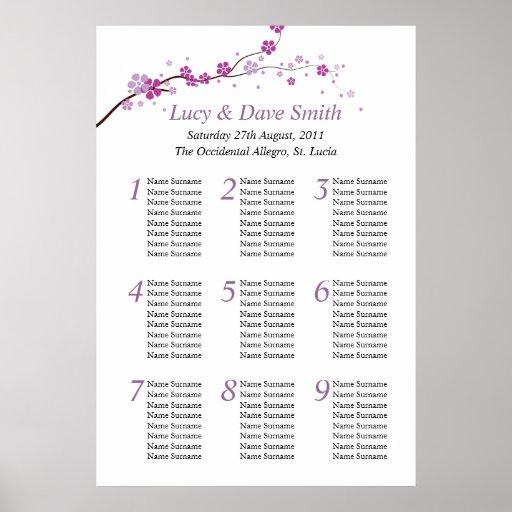 Purple Flower Wedding Table Seating Plan Posters