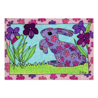 Purple Flowered Bunny Poster