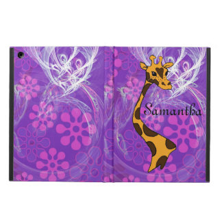 Purple Flowered Cartoon Giraffe - iPad Air Case