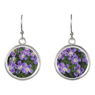 Purple flowered earrings