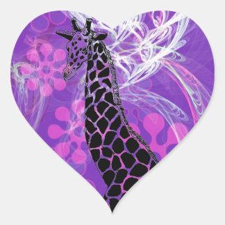 Purple Flowered Giraffe II ~ Heart Sticker
