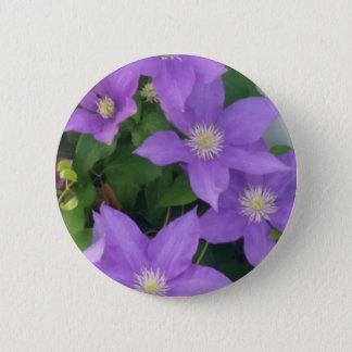 purple flowers 6 cm round badge