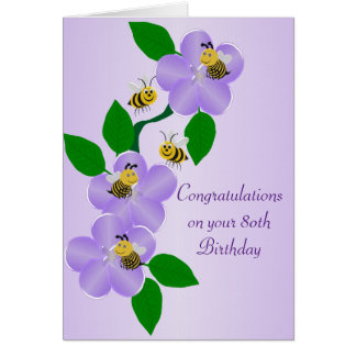 Purple Flowers 80th Birthday Card
