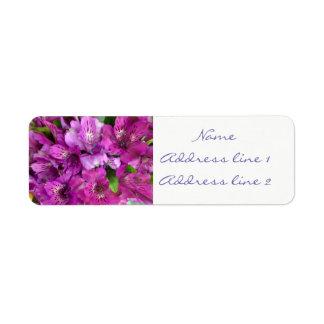 Purple flowers address labels