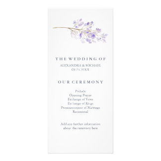 Purple Flowers and Branch Wedding Program Rack Card