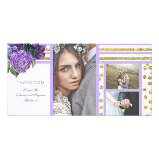 Purple Flowers and Gold Stripes Wedding Thank You Card