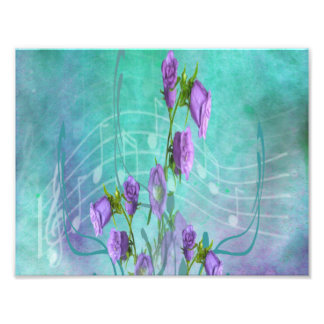 Purple Flowers and Musical Notes Art Photo