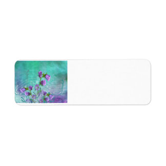 Purple Flowers and Musical Notes Return Address Label