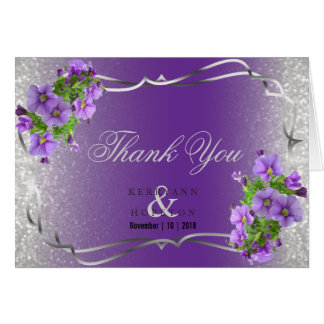 Purple Flowers and Silver Glitter - Thank You Card