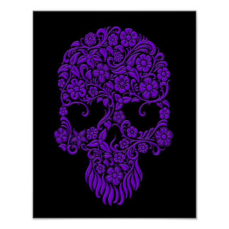 Purple Flowers and Vines Skull Design on Black Poster