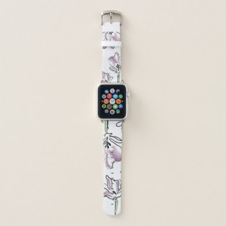 Purple flowers apple watch band