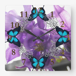 purple flowers blue square wall clock