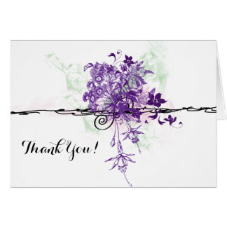 Purple Flowers Bouquet Illustration, Thank You Stationery Note Card