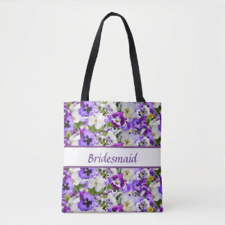 Purple Flowers Bridesmaid Tote Bag