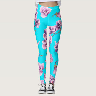 Purple Flowers Bright Sky Leggings
