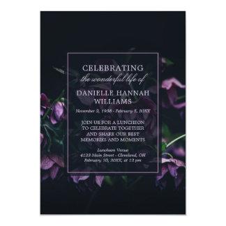 Purple Flowers - Celebration of Life Memorial Card