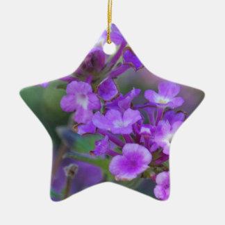 Purple Flowers Ceramic Star Decoration