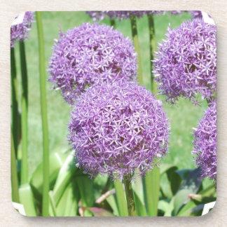 Purple Flowers Cork Coasters