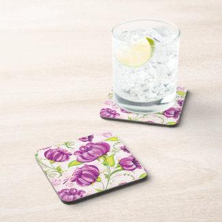 Purple flowers drink coasters