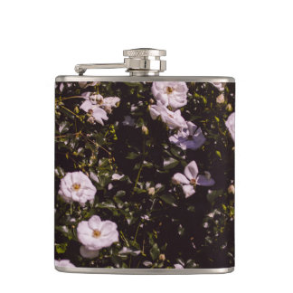 Purple Flowers, Floral Photography Hip Flask