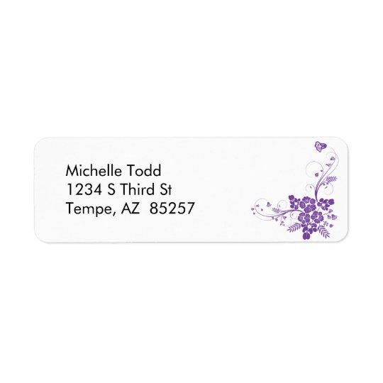 Purple Flowers & Flourishes Return Address Label