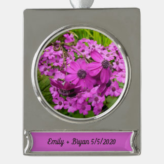 Purple Flowers from San Francisco Silver Plated Banner Ornament
