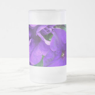 Purple Flowers Frosted Glass Beer Mug