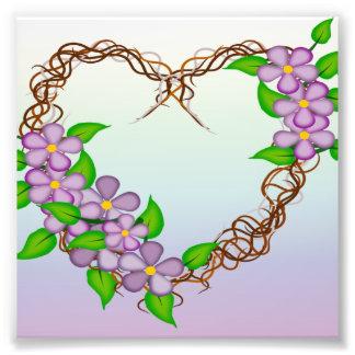 Purple Flowers Grapevine Wreath Photographic Print