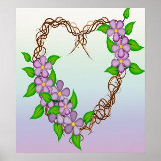 Purple Flowers Grapevine Wreath Posters