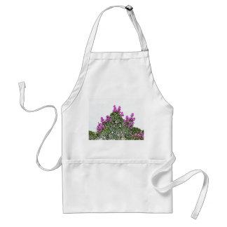 purple flowers green bush floral sketch design apron