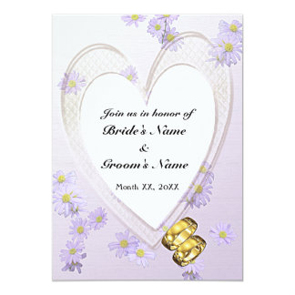 Purple Flowers, Heart, Rings, Rehearsal Dinner 13 Cm X 18 Cm Invitation Card