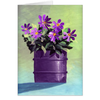 Purple Flowers Housewarming New Home Card