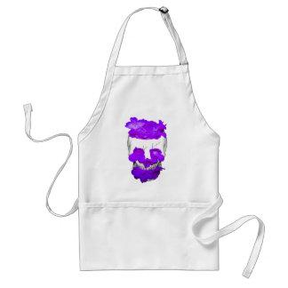Purple Flowers In A Skull Standard Apron