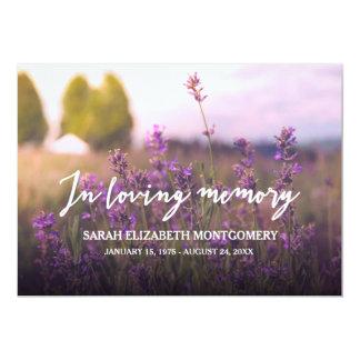 Purple Flowers   In Loving Memory 13 Cm X 18 Cm Invitation Card