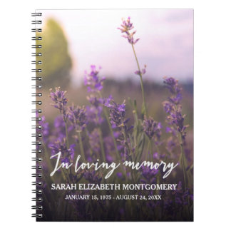 Purple Flowers | In Loving Memory Guest Book Spiral Notebook