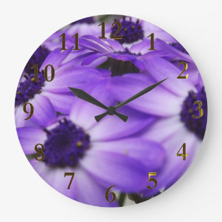 purple flowers large clock