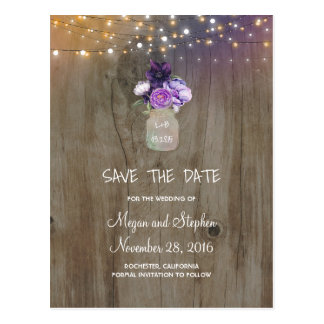 Purple Flowers Mason Jar Rustic Save the Date Postcard