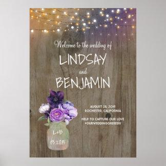 Purple Flowers Mason Jar Rustic Wedding Welcome Poster