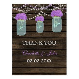 Purple Flowers Mason Jars Barn Wood Wedding Postcard