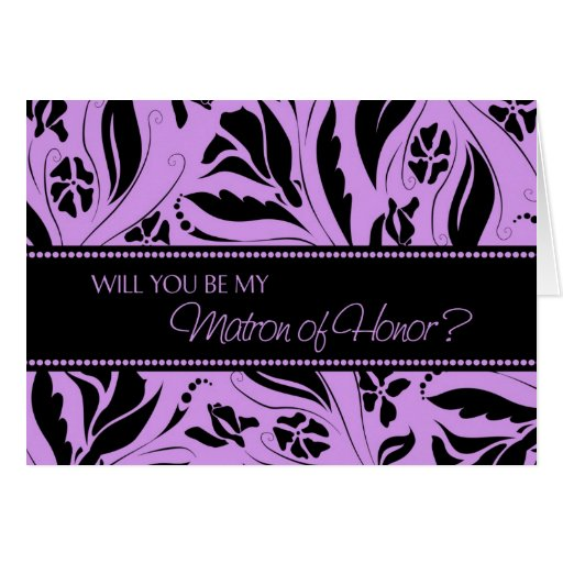Purple Flowers Matron of Honor Invitation Card