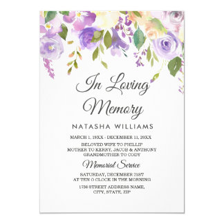 Purple Flowers Memorial Announcement Service